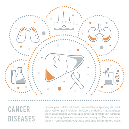 Line illustration of cancer diseases. Concept for web banners and printed materials. Template for website banner and landing page. Vector Illustration
