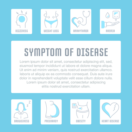 Line illustration of symptom of disease. Concept for web banners and printed materials. Template for website banner and landing page. Vectores