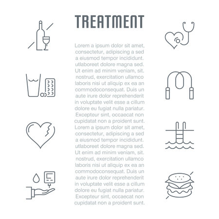 Line illustration of treatment. Concept for web banners and printed materials. Template for website banner and landing page.