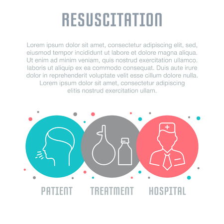 Line illustration of resuscitation poster concept