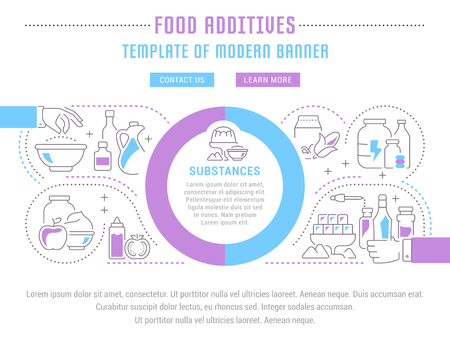Line illustration of food additives infographic design Vettoriali