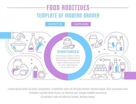 Line illustration of food additives infographic design Çizim