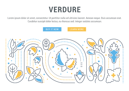 Line illustration of verdure. Concept for web banners and printed materials. Template with buttons for website banner and landing page.