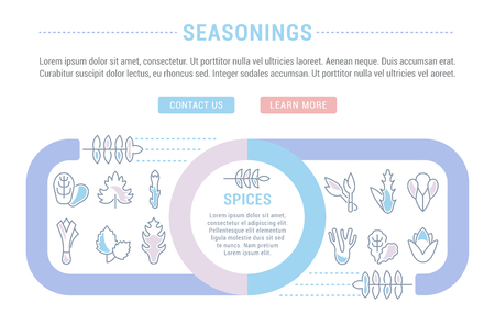 Line illustration of seasonings.