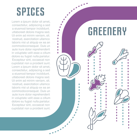 Line illustration of spices and greenery.