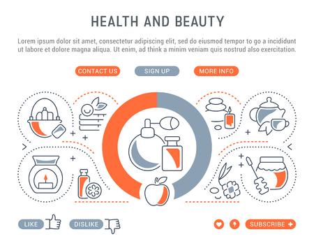 Health and beauty web banners in thin line concept illustration.