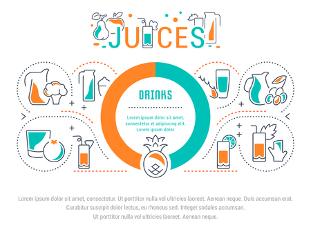 Line illustration of juices. Concept for web banners and printed materials. Template for website banner and landing page. Ilustracja