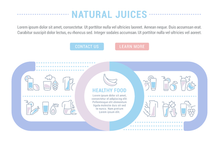 Line illustration of natural juices. Concept for web banners and printed materials. Template with buttons for website banner and landing page. Ilustracja