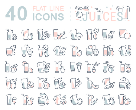 Set of vector line icons, sign and symbols with flat elements of juices for modern concepts, web and apps. Collection of infographics logos and pictograms.