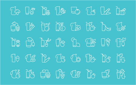 Collection of line white icons of juices. Set of vector simple elements with bold outlines on a color background. Info graphics signs and pictograms. Vectores