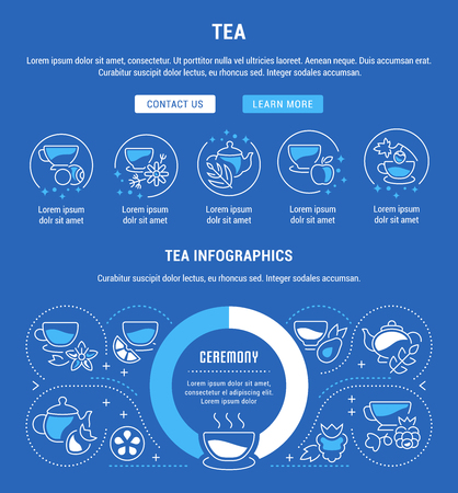 Line illustration of tea. Concept for web banners and printed materials. Template with buttons for website banner and landing page. Vettoriali