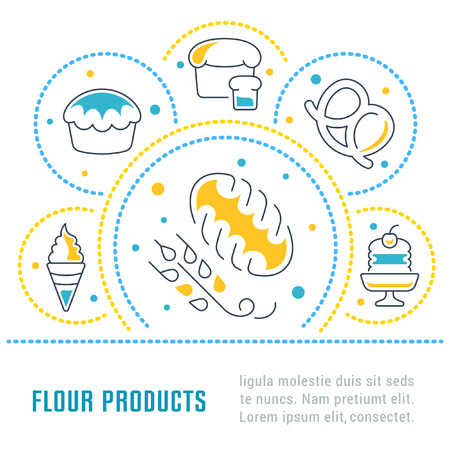 Line illustration of flour products. Concept for web banners and printed materials. Template for website banner and landing page.