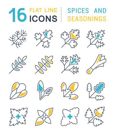 Set of vector line icons, sign and symbols with flat elements of greenery for modern concepts, web and apps. Collection of infographics and pictograms.