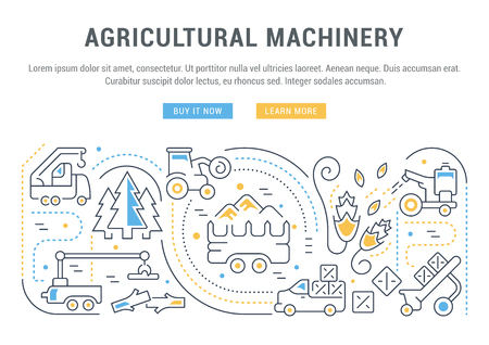 Line illustration of agricultural machinery. Concept for web banners and printed materials. Template with buttons for website banner and landing page. 일러스트