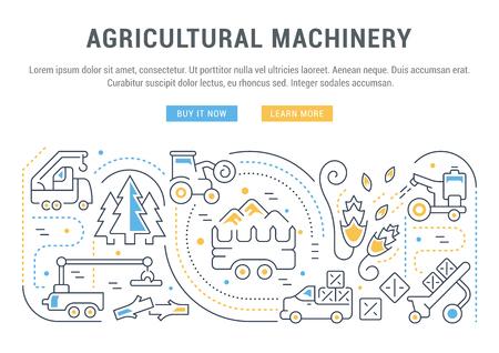 Illustration de la ligne de machines agricoles. Concept pour les bannières Web et les documents imprimés. Modèle avec des boutons pour la bannière du site Web et la page de destination. Vecteurs