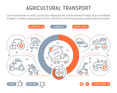 Line illustration of agricultural transport. Concept for web banners and printed materials. Template with buttons for website banner and landing page. Illustration