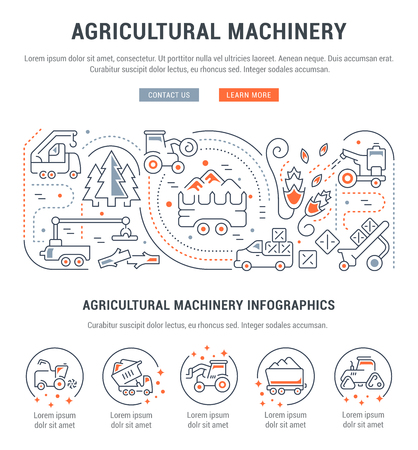 Line illustration of agricultural machinery. Concept for web banners and printed materials. Template with buttons for website banner and landing page. Illustration