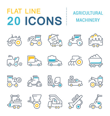 Set of vector line icons, sign and symbols with flat elements of agricultural machinery for modern concepts, web and apps. Collection of infographics logos and pictograms.