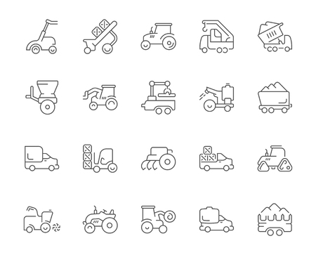 Collection of line gray icons of agricultural machinery. Set of vector simple concepts for creative projects and apps. Info graphics elements and pictograms.
