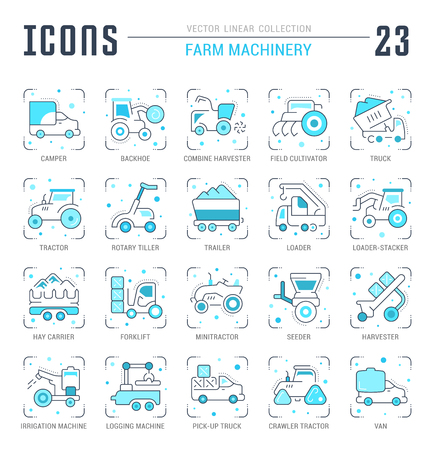 Collection of vector flat icons with thin line elements of farm machinery. Set of clean design, and outline signs. Simple linear infographics and pictograms pack for web graphics and apps.