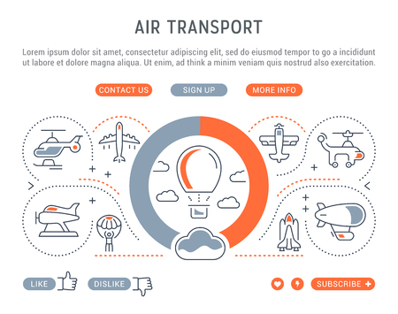 Line illustration of air transport. Concept for web banners and printed materials. Template with buttons for website banner and landing page.