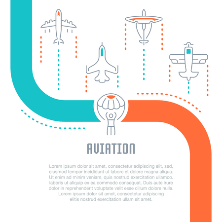 Line illustration of aviation. Concept for web banners and printed materials. Template for website banner and landing page.