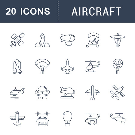 Set of vector line icons, sign and symbols of aircraft for modern concepts, web and apps. Collection of infographics elements, logos and pictograms. Illustration