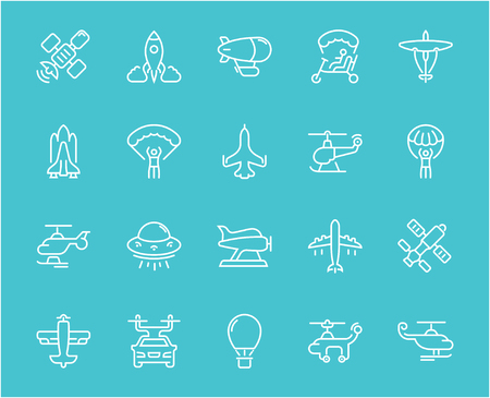 Collection of line white icons of aircraft. Set of vector simple elements with bold outlines on a color background. Info graphics signs and pictograms.