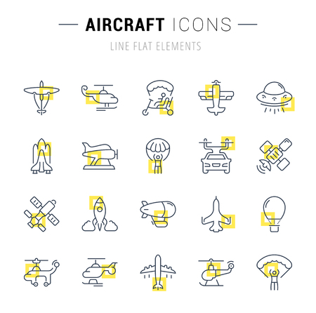 Set of vector line icons and signs with yellow squares of aircraft for excellent concepts. Collection of infographics logos and pictograms.