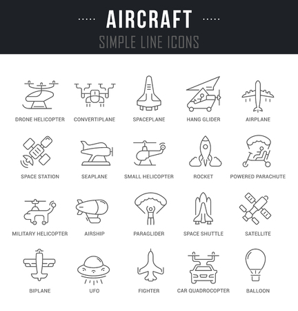 Set of outline signs and symbols of aircraft with names. Collection vector thin line icons and infographics elements. Simple linear pictogram pack for web graphics and apps.