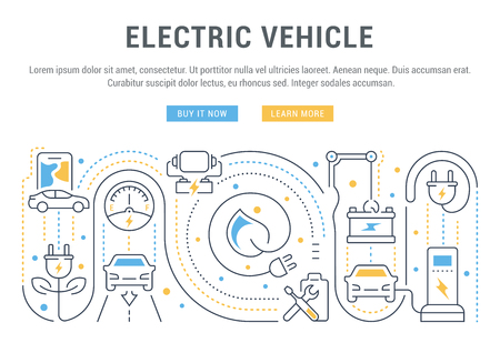Line illustration of electric vehicle. Concept for web banners and printed materials. Template with buttons for website banner and landing page.