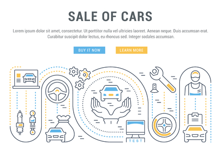 Line illustration of sale of cars. Illustration