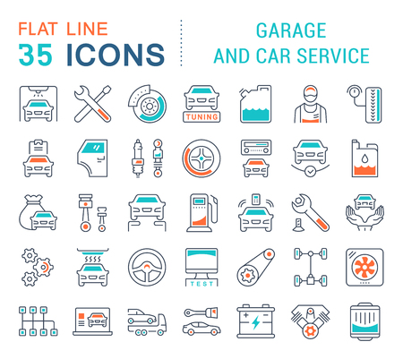 Set of vector line icons, sign and symbols with flat elements of garage and car service for modern concepts, web and apps. Collection of infographics logos and pictograms.