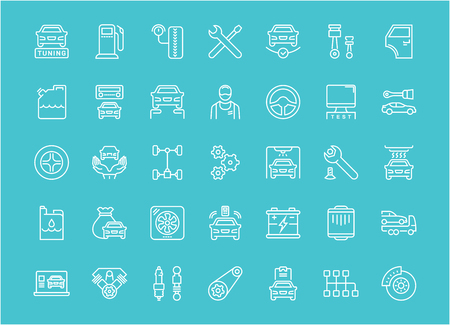 Collection of line white icons of garage and car service. Set of vector simple elements with bold outlines on a color background. Info graphics signs and pictograms.