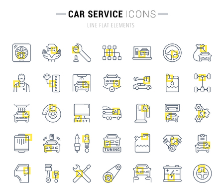 Set of vector line icons and signs with yellow squares of car service for excellent concepts. Collection of infographics logos and pictograms.