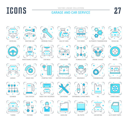 Collection of vector flat icons with thin line elements of garage and car service. Set of clean design, and outline signs. Simple linear infographics and pictograms pack for web graphics and apps. Ilustração