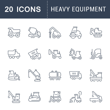 Set of vector line icons, sign and symbols of heavy equipment for modern concepts, web and apps. Collection of infographics elements, logos and pictograms. Illustration