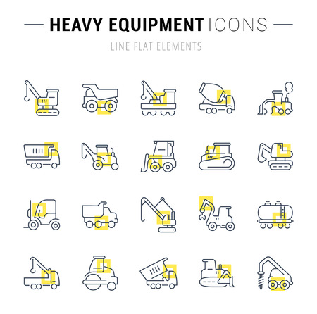 Set of vector line icons and signs with yellow squares of heavy equipment for excellent concepts. Collection of info graphics  pictographs.