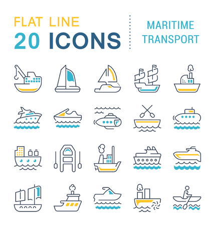 Set of vector line icons, sign and symbols with flat elements of maritime transport for modern concepts, web and apps. Collection of infographics logos and pictograms.