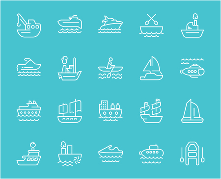 Collection of line white icons of maritime transport. Set of vector simple elements with bold outlines on a color background. Info graphics signs and pictograms.
