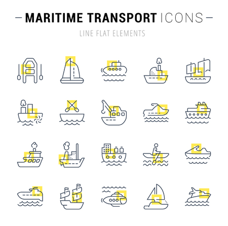 Set of vector line icons and signs with yellow squares of maritime transport for excellent concepts. Collection of infographics logos and pictograms. Illustration
