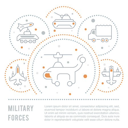 Line illustration of military forces. Concept for web banners and printed materials. Template for website banner and landing page.
