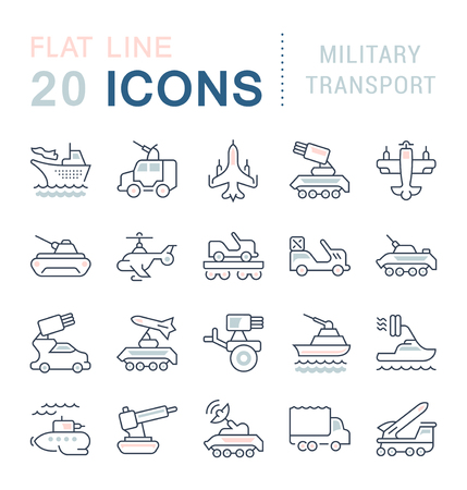 Set of vector line icons, sign and symbols with flat elements of military transport for modern concepts, web and apps. Collection of infographics logos and pictograms.