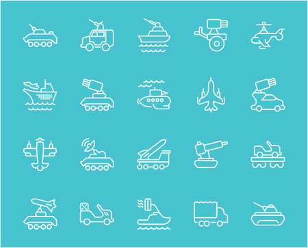 Collection of line white icons of military transport. Set of vector simple elements with bold outlines on a color background. Info graphics signs and pictograms. Illustration
