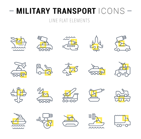 Set of military transport icons Illustration