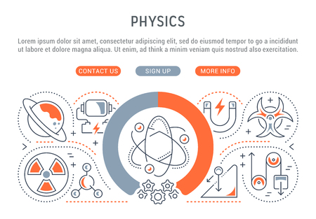 Line illustration of physics. Concept for web banners and printed materials. Template with buttons for website banner and landing page.