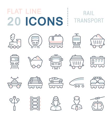 Set di icone di linea del vettore con elementi piatti del trasporto ferroviario per concetti moderni. Raccolta di simboli e pittogrammi infografici. Vettoriali