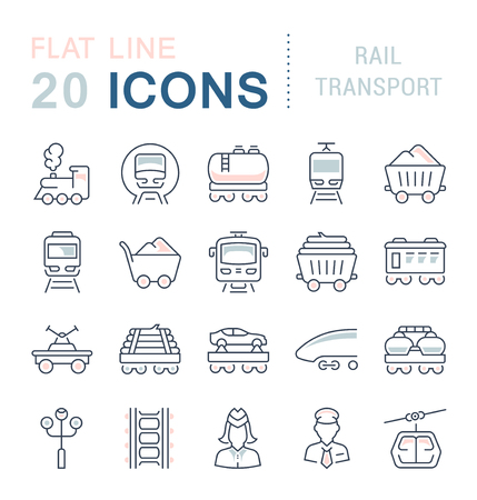 Set of vector line icons with flat elements of rail transport for modern concepts. Collection of infographics symbols and pictograms. Ilustração
