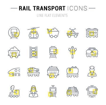 Set of vector line icons and signs with yellow squares of rail transport for excellent concepts. Collection of infographics symbols and pictograms.