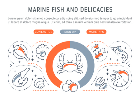Line illustration of marine fish and delicacies. Concept for web banners and printed materials. Template with buttons for website banner and landing page.